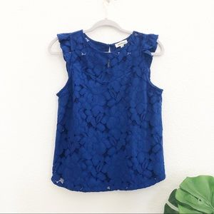 Monteau Cobalt Blue Lace Top